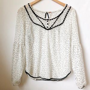 Free People polka dot blouse with eyelet details